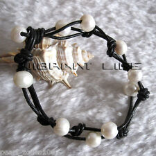 "8"" 8-10mm White Freshwater Pearl Black Leather Bracelet Jewelry"