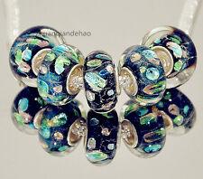 5pcs MURANO Lampwork charm Beads fit 925 silver European Bracelet Chain a850