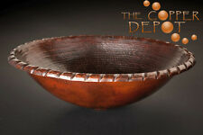 COPPER OVAL DROP-IN HAMMERED ROPE RIM BATHROOM SINK