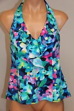 NWT INC International Concepts Swimsuit Bikini Tankini Top Sz 12 MLT Blue