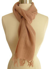 "Anokhi 100% wool scarf: Dirty Pink with fringed edges - 12"" x 70"""