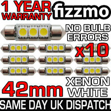 10x 3 SMD LED 42mm 264 CANBUS ERROR XENON WHITE NUMBER PLATE LIGHT FESTOON BULB