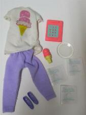 VTG 80s Clothes lot ICE CREAM SHOP OUTFIT CONE SHOES MENUS CALCULATOR Barbie