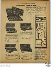 1922 PAPER AD 5 PG Blackhawk Wrench Sets Store Display Wall Board Socket Ratchet