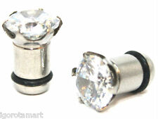 Good Quality Silver Steel Flesh Tunnel CZ Crystal Gem Ear Plug Piercing Jewelry