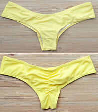 Hot Women Brazilian V Cheeky Ruched Semi Bikini Thong Bottom Swimwear Beach FO