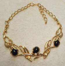 Beautiful Vintage Black and Gold Granada Necklace signed Jose Maria Barrera