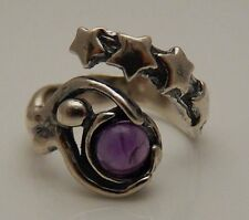 STARBIRTH Astral Goddess Ring .925 Sterling Silver w/ Amethyst Adj. Star ring