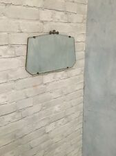 Vintage Art Deco Bevelled Edge Frameless Wall Mirror & Metal Finial 1930's/40's