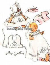 Vintage SEWING PATTERN 1950s Baby Dress Jacket Bonnet Bootee Shoes Bib 6M COPY