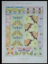 BUTTERFLIES AND INSECTS - 1901 LITHOGRAPH - FRENCH ART NOUVEAU, HENRI GILLET