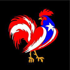 PUERTO RICO CAR DECAL STICKER  GALLO ROOSTER with  FLAG #178