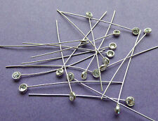 38mm length 24 gauge 0.60mm 925 Sterling Silver Cubic Zirconia End Head Pins 6pc
