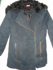 Elle black coat with furry hood. Size 14A