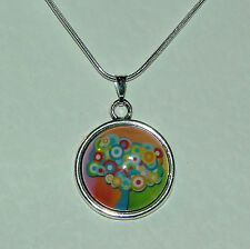 NEAT ORANGE MULTI COLOUR MAGIC TREE GLASS PENDANT SILVER PL MOUNT ROUND CHAIN