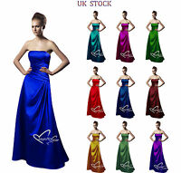Satin Strapless Floor length Bridesmaid Evening wedding Party Dress