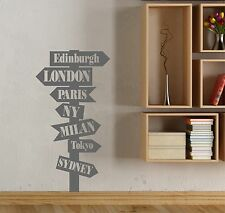 City Sign Post From Around The World Wall Art Stickers Decals -  Personalised.