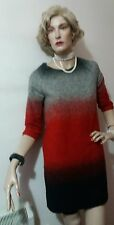 MANGO BLOCK FITTED DRESS SIZE M GREY AND RED 47% WOOL 32% ACRYLIC 21% POLYESTER