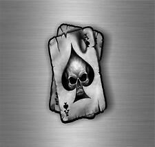 Sticker autocollant voiture moto casque tuning tete de mort skull pique AAS as d...