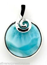 17mm Natural AAA Dominican Larimar Stone 925 Sterling Silver Pendant Necklace