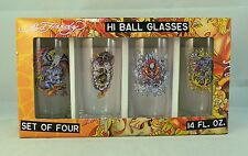 Set of 4 Don Ed Hardy Hi Ball Glasses 14 oz