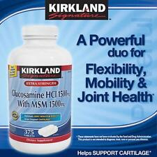 Kirkland Signature 1500 mg Glucosamine with 1500 mg MSM 375 Tablets Joint Health