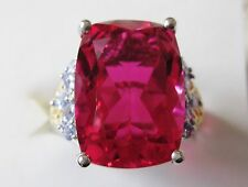 Rubellite Quartz & Tanzanite Ring in Sterling Silver sz 6 --  11.97 cts