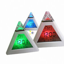 7 Color Digital LCD Pyramid Triangle Change Thermometer Alarm Clock New