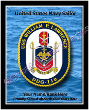 USS William P lawrence DDG 110 Personalized Ship Crest Print on Canvas 2D Effect