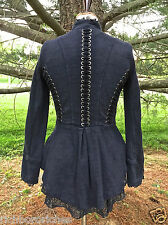 NEW Free People Victorian Jacket Coat Lace Up indigo blue lace peplum S $168
