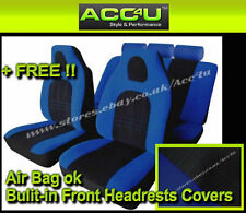 Blue Black Velour Fabric Front Built In Headrests Airbag OK Car Seat Covers Set