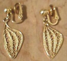 Vintage Gold Plated Earrings Whimsey Dangle Wings Clip On Jewelry Pair Earrings