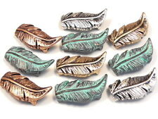 10 - 2 HOLE SLIDER BEADS TRI COLOR METAL & PATINA WESTERN, SOUTHWESTERN FEATHERS