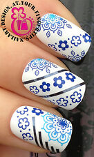 NAIL ART WRAP WATER TRANSFERS STICKERS DECALS DECORATION SET BLUE FLOWER #137