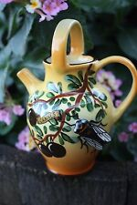 VINTAGE FRENCH GARGOULETTE CANNE'S PITCHER POT WITH CICADA SIGNED BY TESS