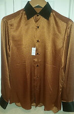 STEFANO RICCI 100% SILK SHIRT TWO TONE SHINY $1,400 SMALL NEW TAGS MADE IN ITALY