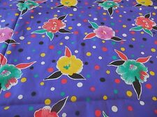 """Colorful Purple Polka Dots & Flowers Stretch Cotton Blend Fabric 46"""" X 72"""""""