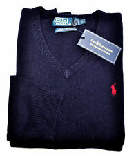 NWT RALPH LAUREN MEN'S POLO BUSINESS SWEATER JUMPER V NECK WOOL WARM NAVY L
