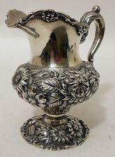 A repousse sterling cream jug, Rose pattern, Stieff, dated 1950