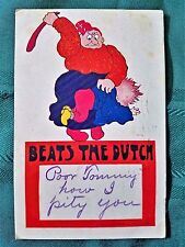 Vtg Postcard Cartoon Beats the Dutch Mother Spanking Child 1906 Green Stamp