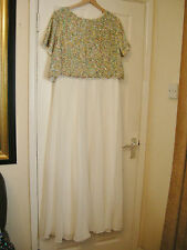 18 ASOS IVORY MAXI DRESS MULTI SEQUIN CHIFFON 20'S 30'S VINTAGE GATSBY
