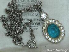 """PRETTY VINTAGE 30'S WHITE PASTE DIAMANTE AND BLUE GLASS PENDANT & 16"""" CHAIN"""