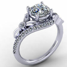 Certified 2.41ctNew Flower Style White Round Cut Engagement  Ring in 10K GOLD