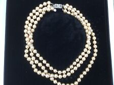 "Vintage Franklin Mint Jackie Kennedy Triple-Strand Simulated Pearl 18"" Necklace!"