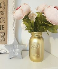 Painted Gold Mason Ball Jar with gold glitter rim 945ml - Perfect for Weddings