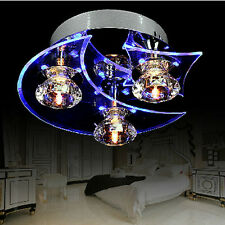 Chandeliers LED Crystal Flush 3 Lamps Ceiling Lights Modern Metal Fantasy Blue