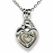 Mother Baby Child Cage Necklace Love Heart 925 DP Sterling Silver Pick-a-Pearl