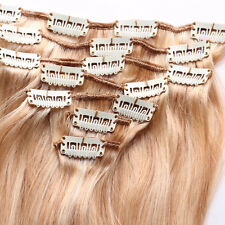 NEW 7PCS/SET Clip In Remy Human Hair Extensions Full Head 15inch/37cm 70G Blonde