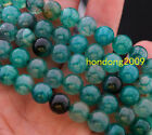 """Natural 8mm Round Green Dragon Veins Agate Loose Beads 15"""""""