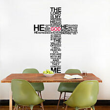Cross In words home decor vinyl Wall sticker Jesus Christ Psalm Pray Wall decals